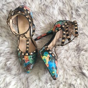 Shoes - Studded wrap Ankle Pointed Toe Floral Heels